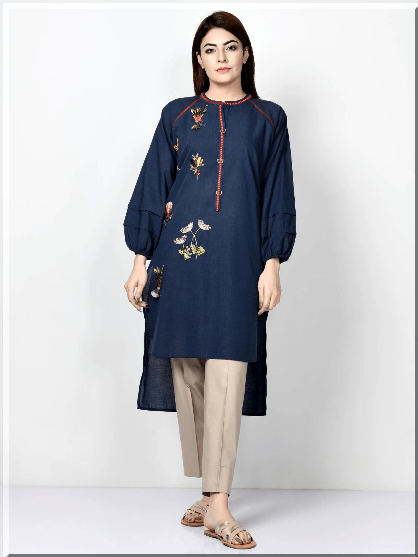 blue kurta design for women