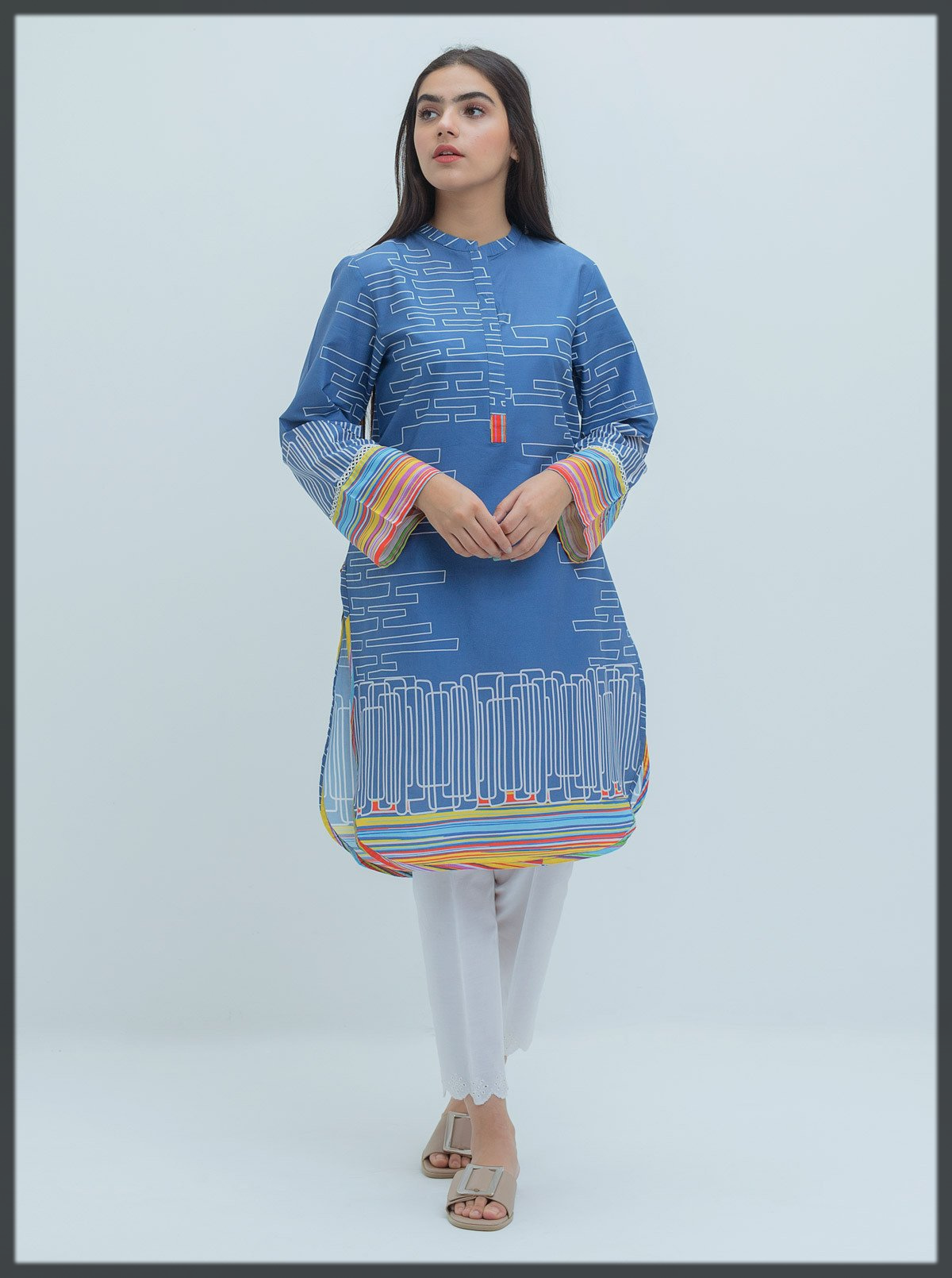 blue printed kurta for teens