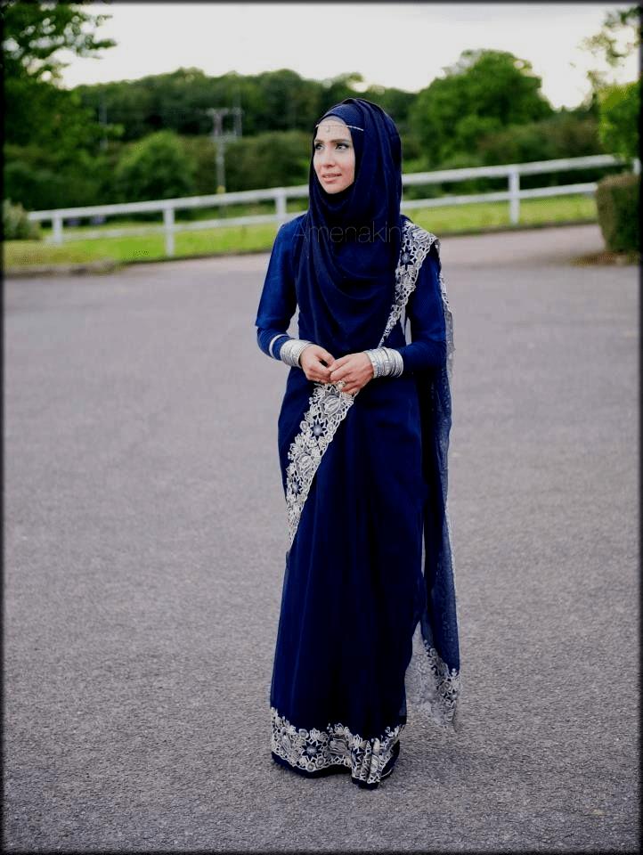 blue saree with hijab