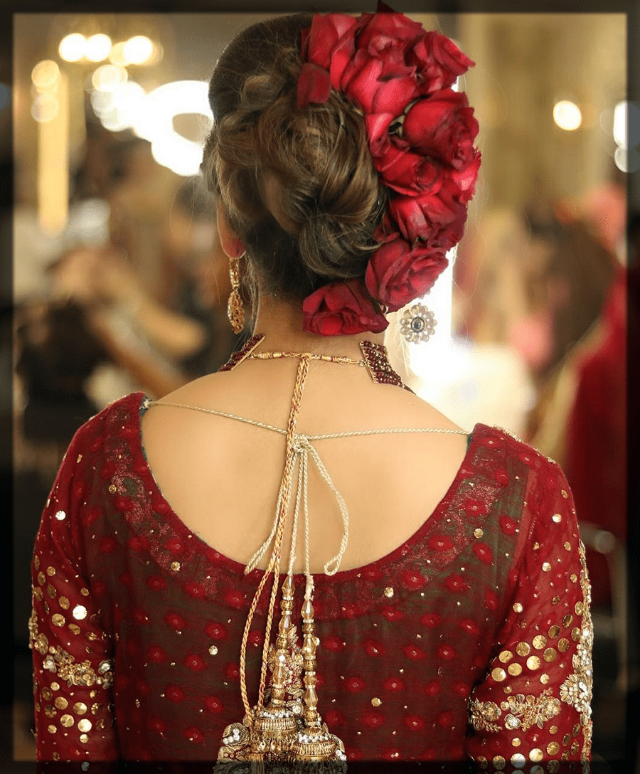 classy barat hairstyles with flowers