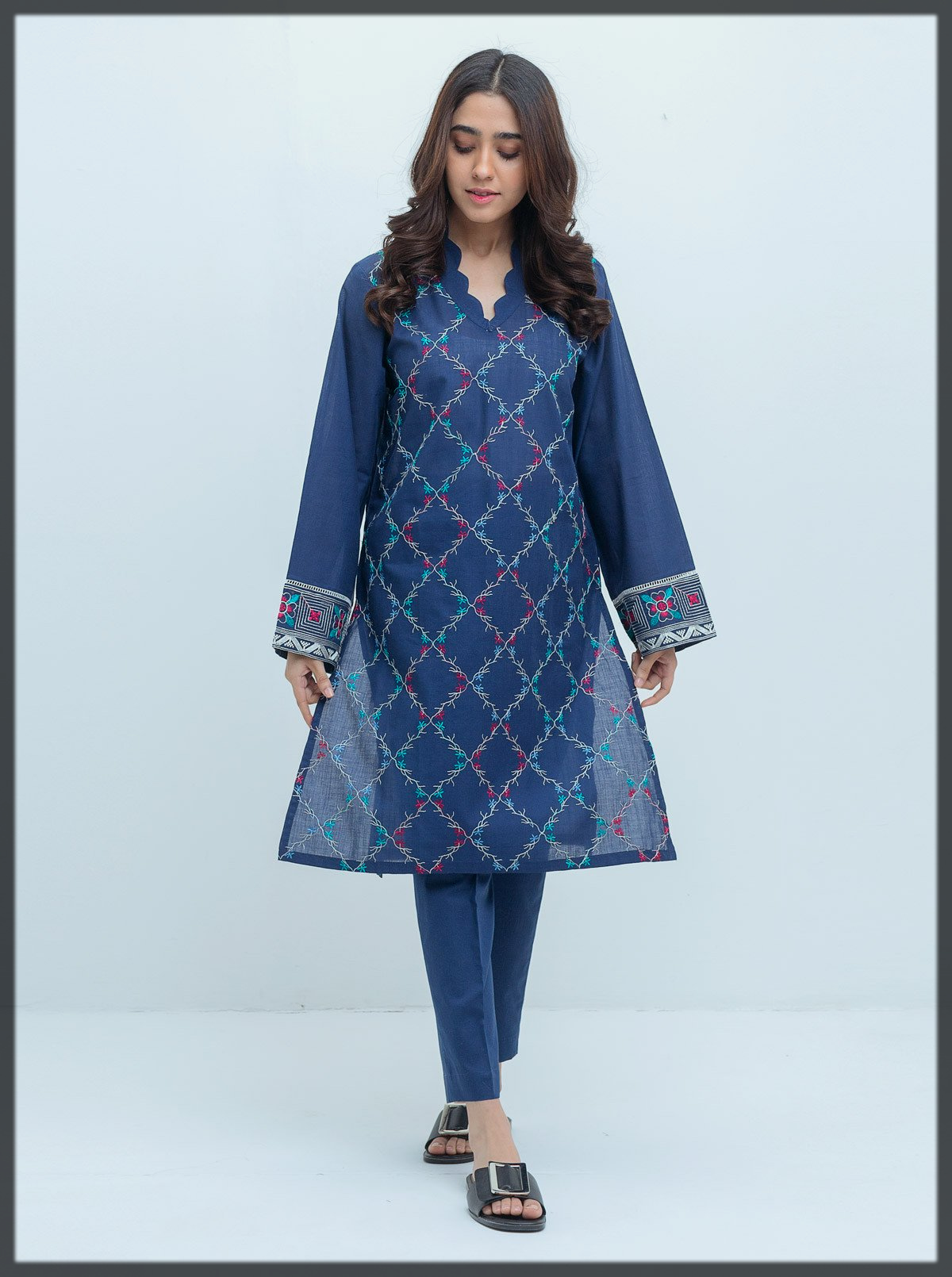 classy blue Embroidered Shirt