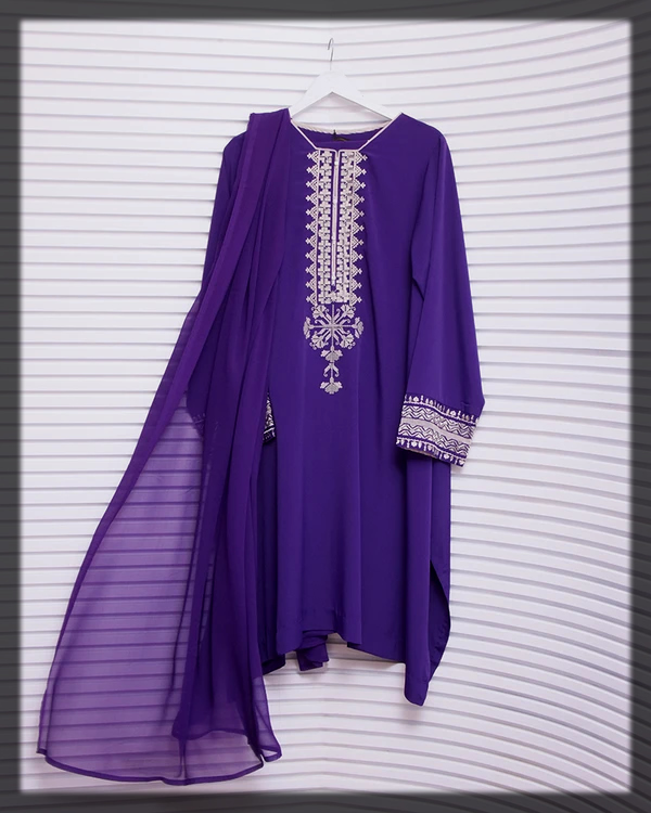classy purple summer lawn suit