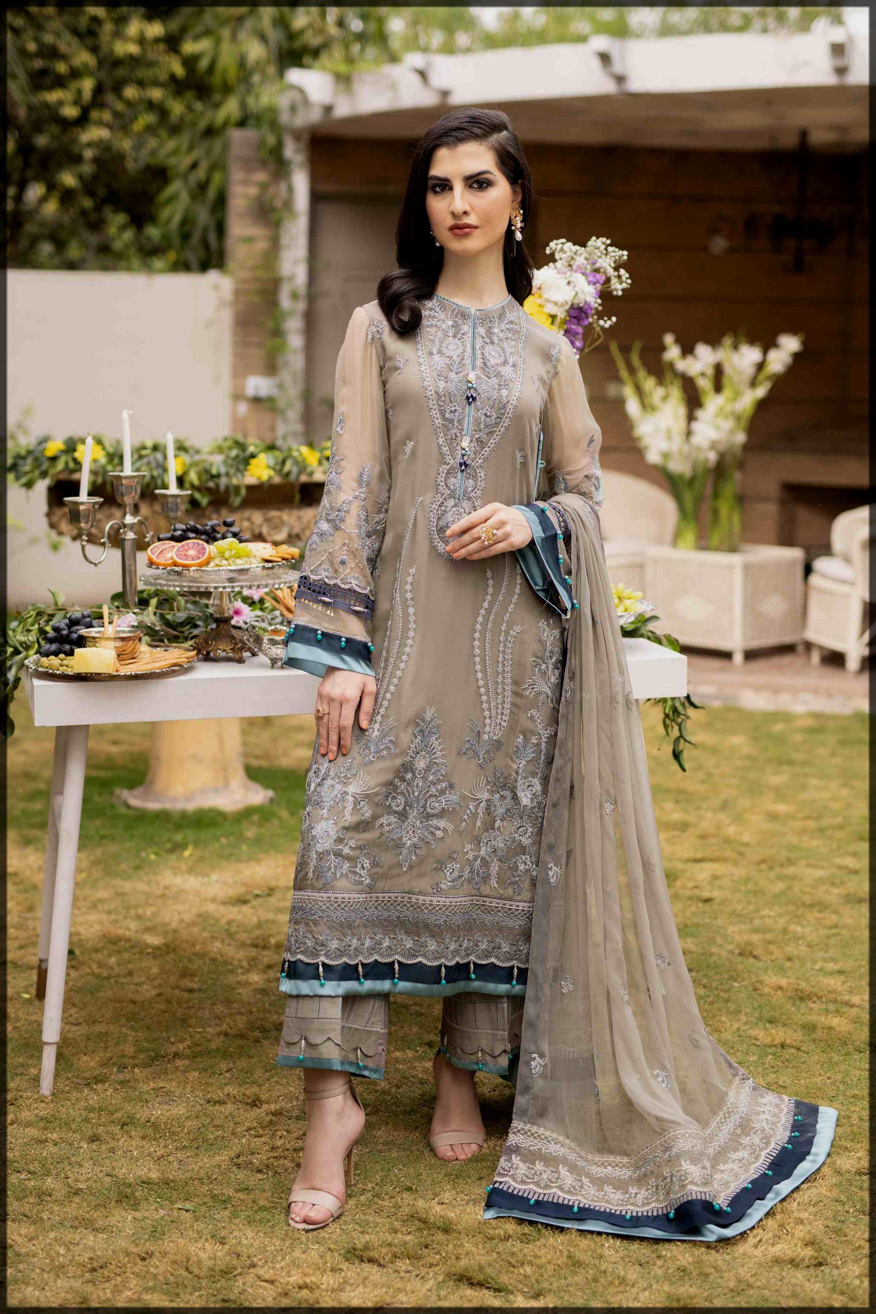classy raw silk Pakistani Eid Dresses