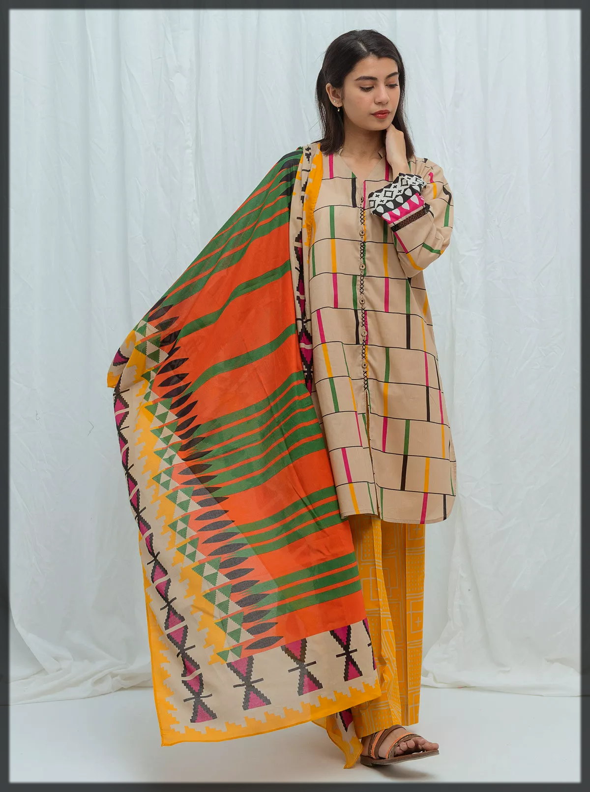 digital printed summer lawn suit
