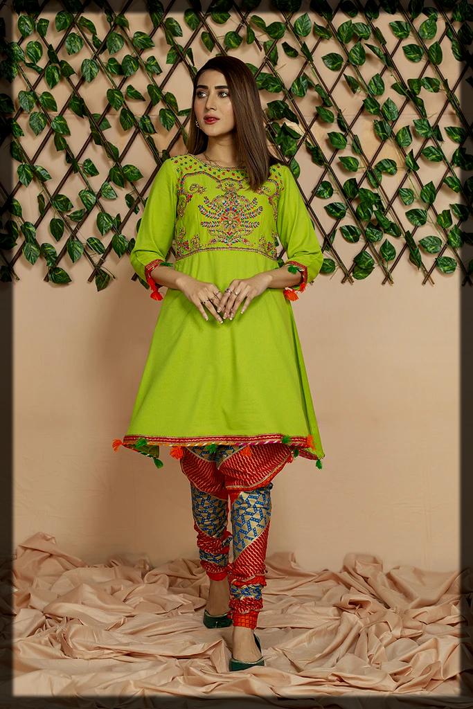 green shaded lawn karandi shirt by chinyere