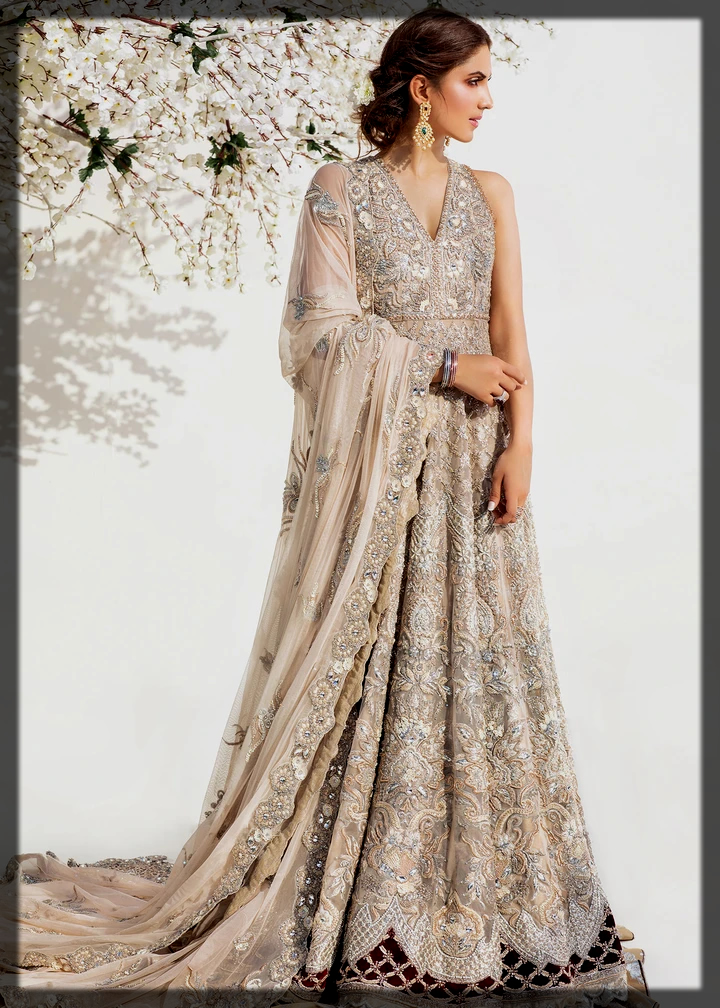 grey shaded walima outfit for brides