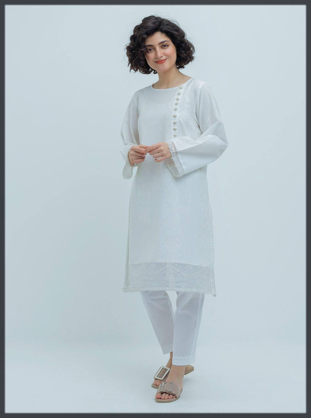 impressive white summer kurta