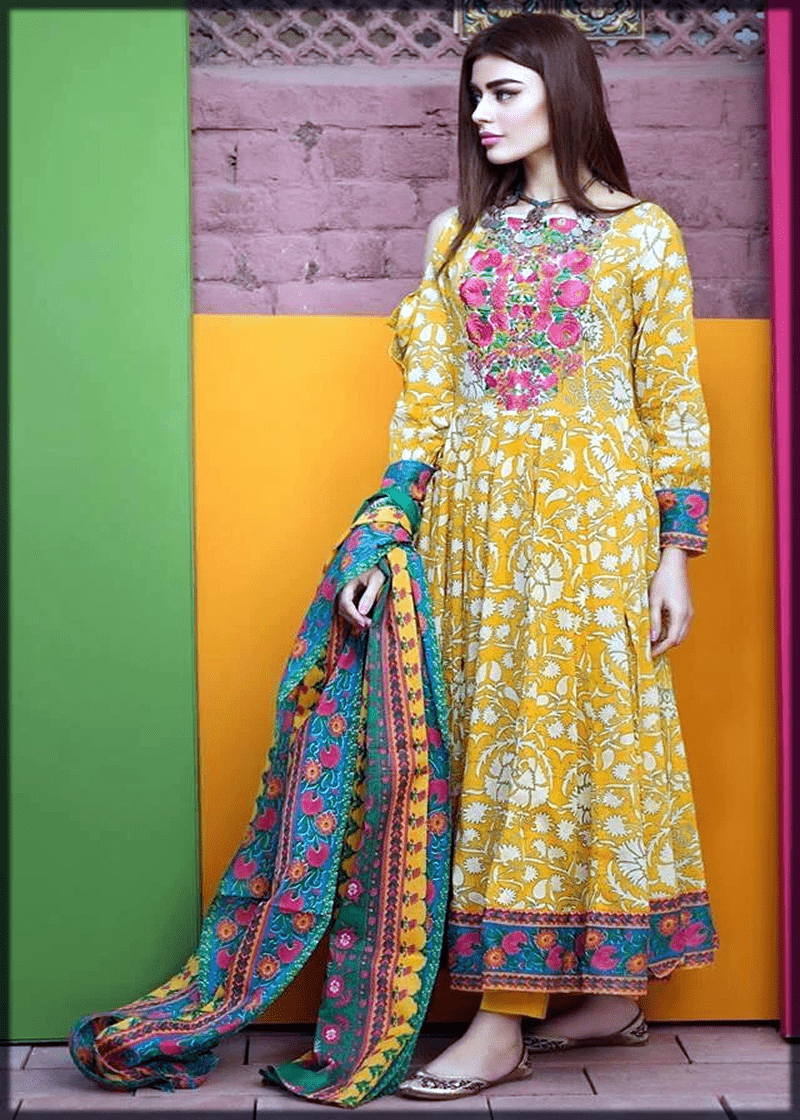 Frock Style Lawn Dresses Stitching Designs