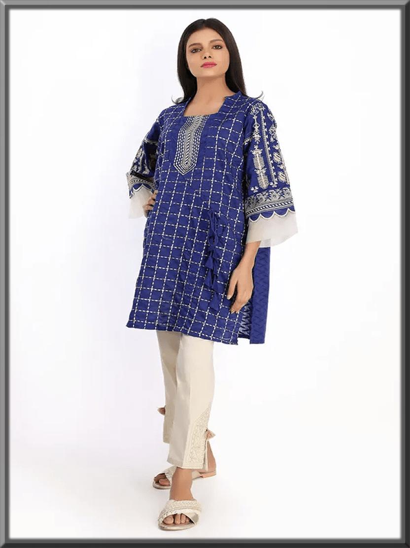 khaadi stunning blue kurta design