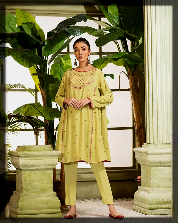 lime yellow embroidered suit