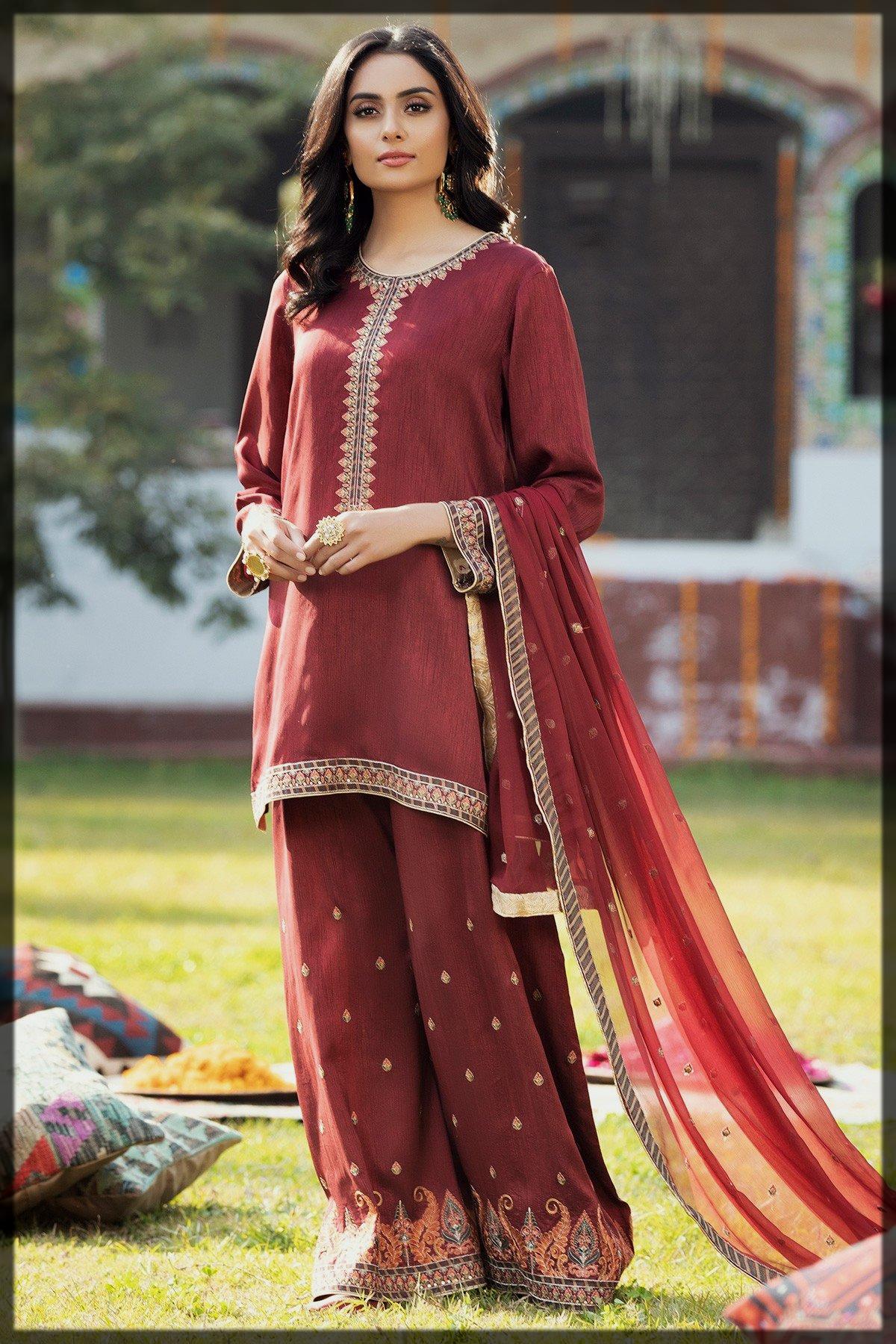 maroon Pakistani Eid Dresses