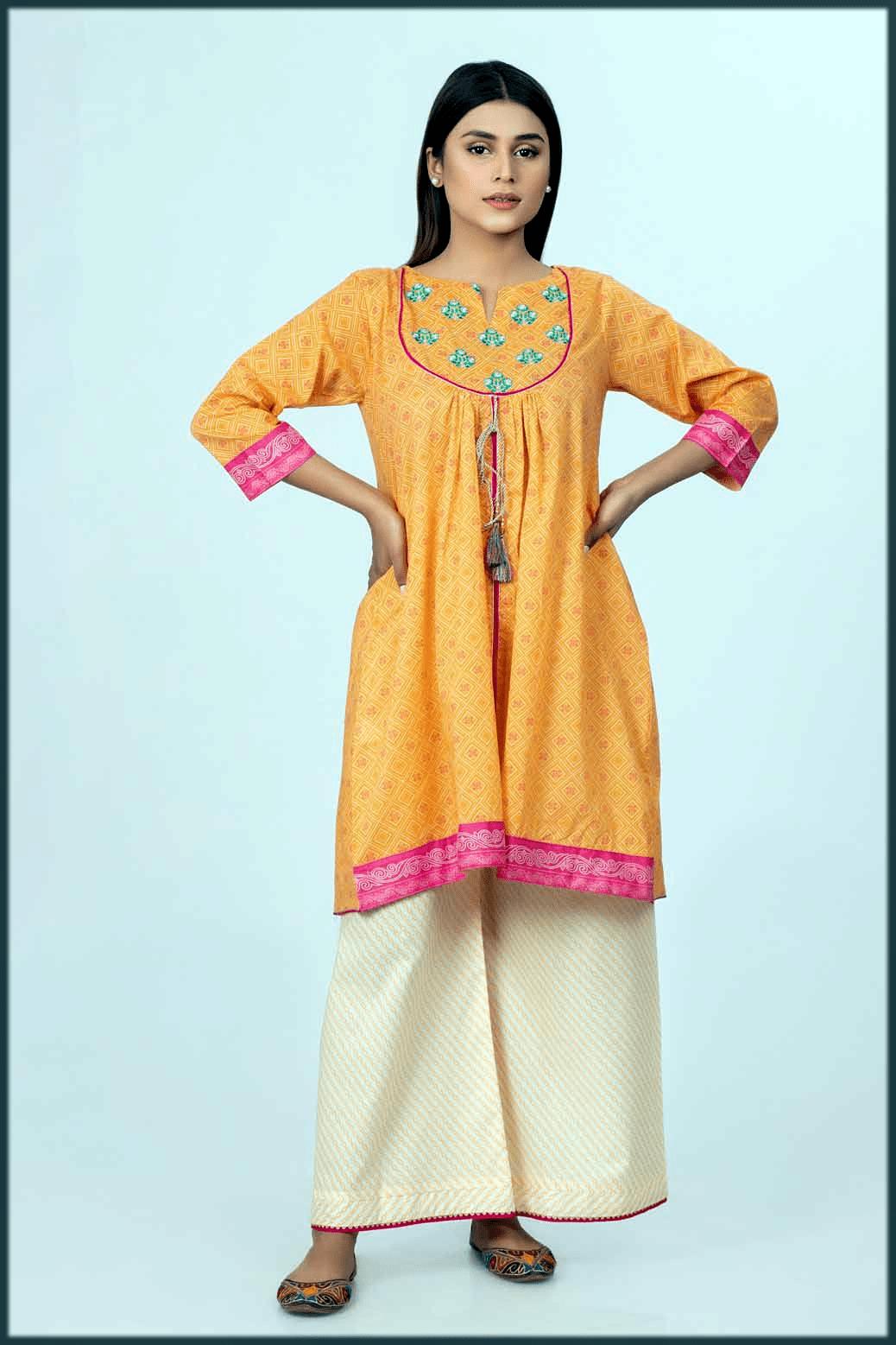 orange printed kurtis for women