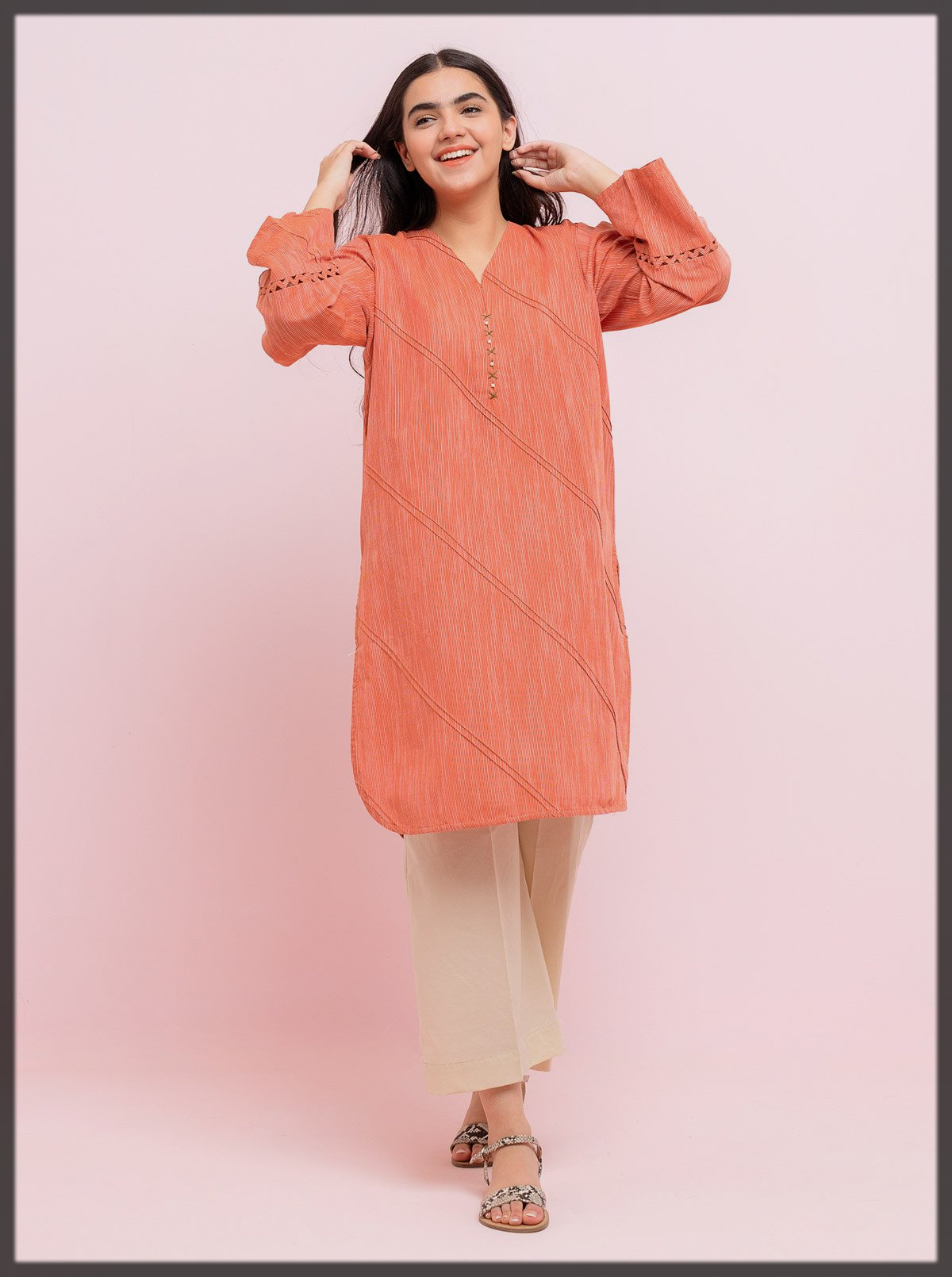 peach summer kurta by beechtree