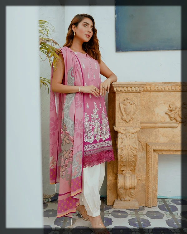 pink and white summer lawn suit