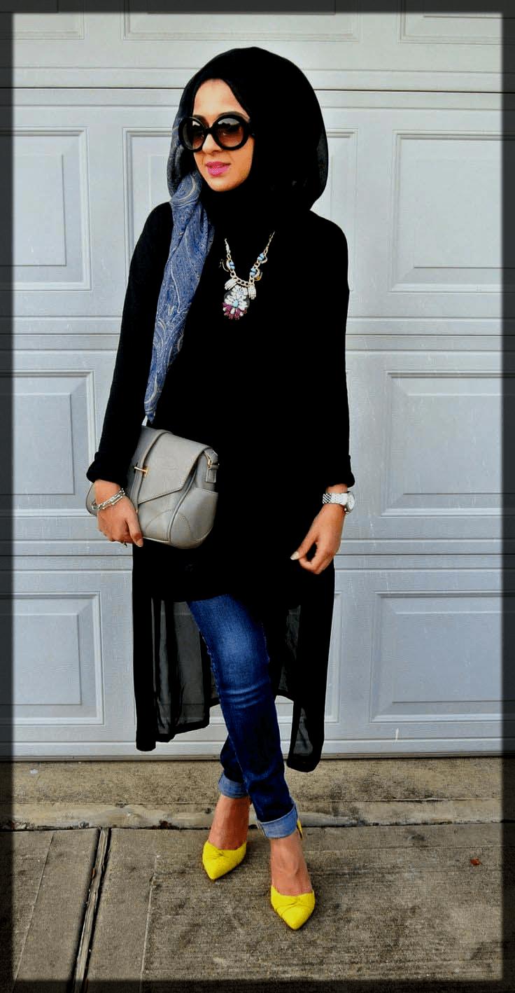 plain black hijjab with sunglasses