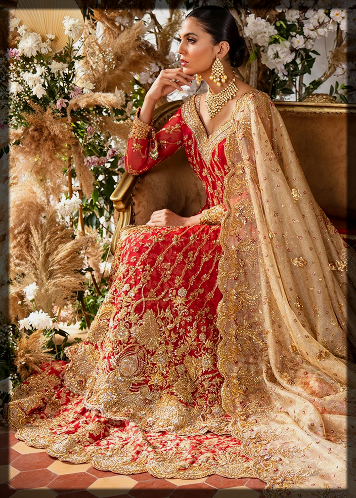 red and gold barat lehenga