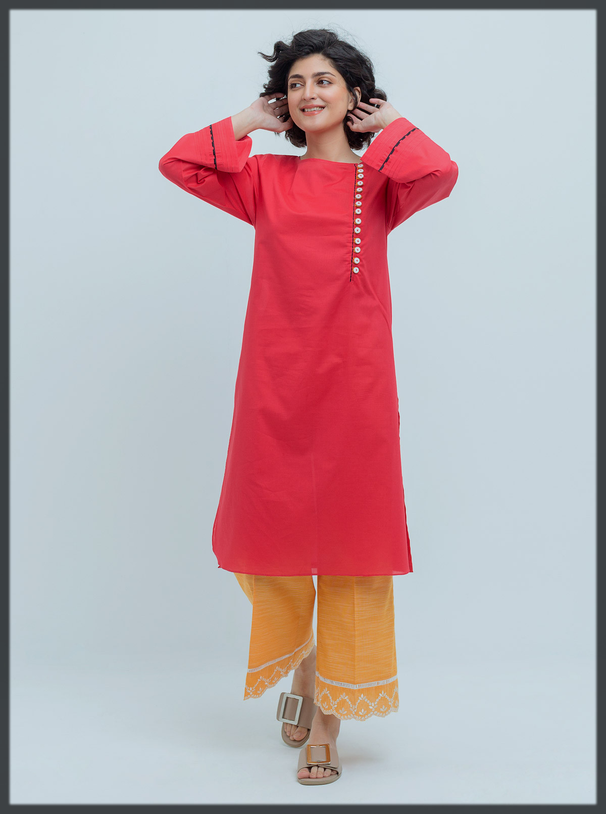 red basic kurta