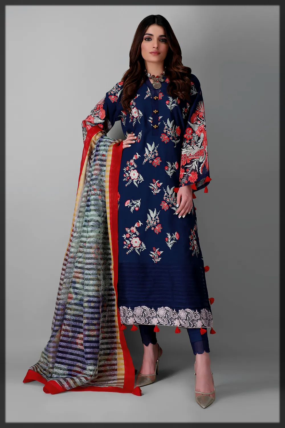 royal blue summer suit by khaadi
