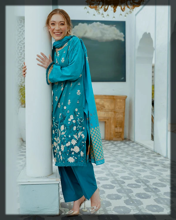 sky blue and white summer lawn suit