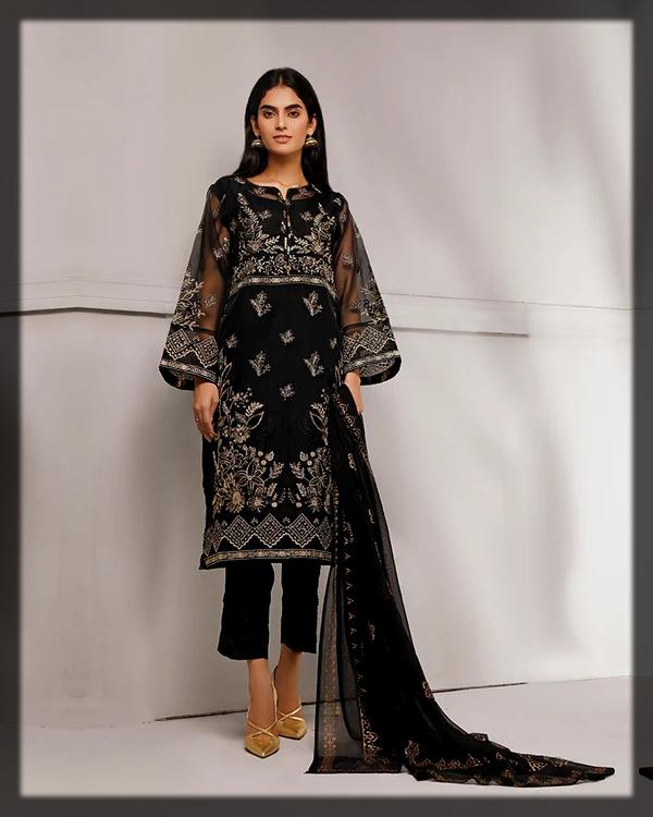 sleek black summer net suit
