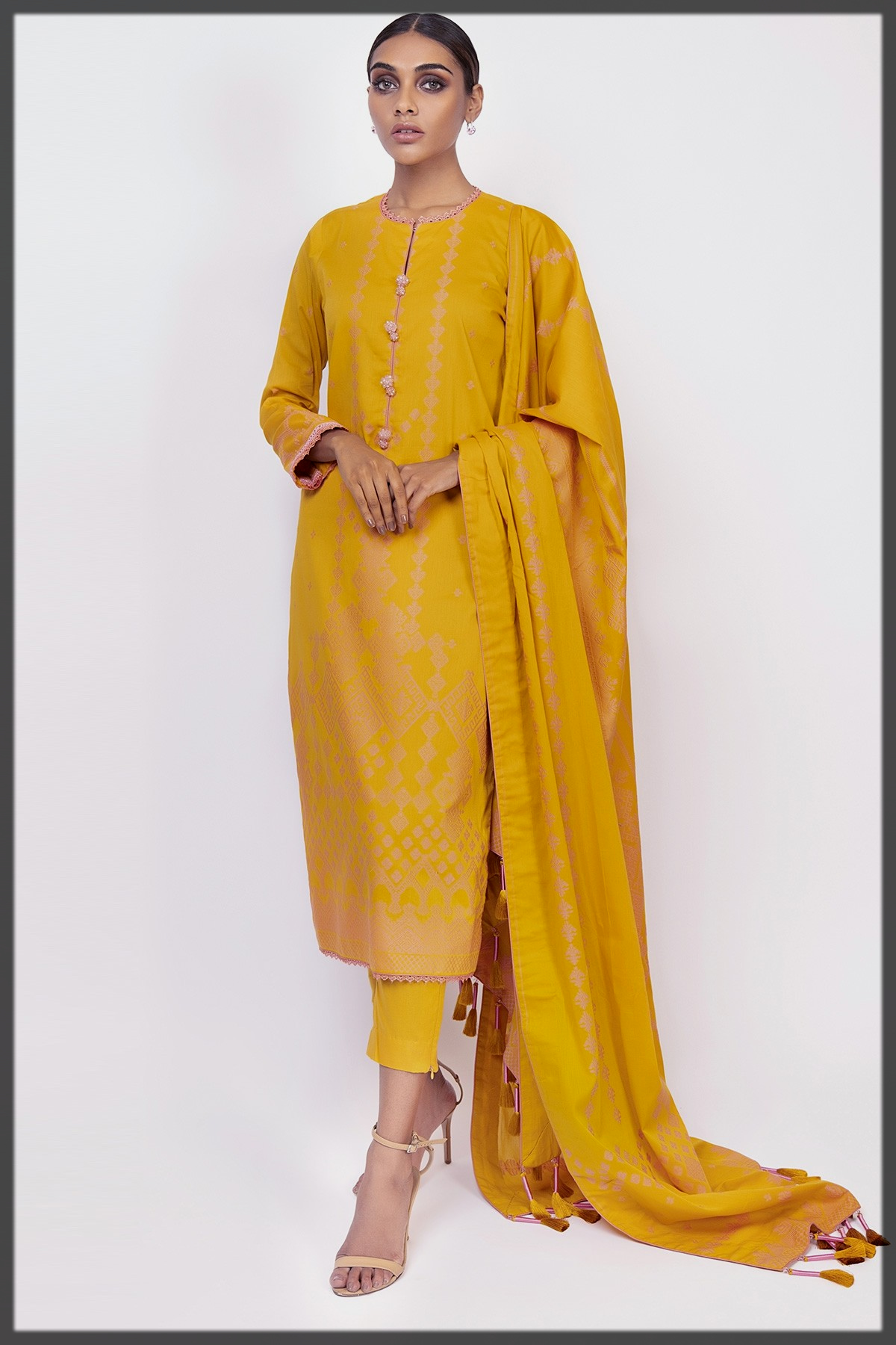 sunshine yellow Pakistani Eid Dresses