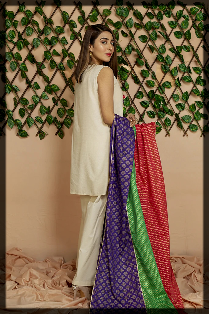 three piece party wear suit with colorful dupatta by chinyere