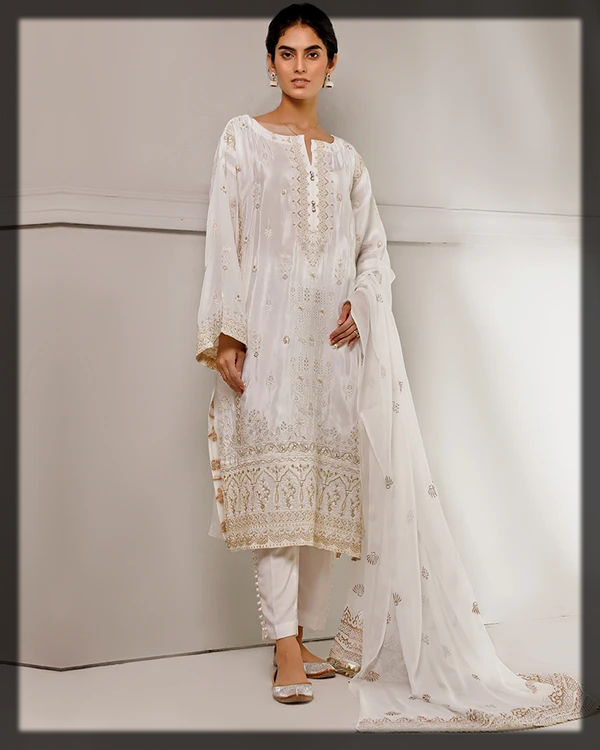 white party wear suit by nimsay