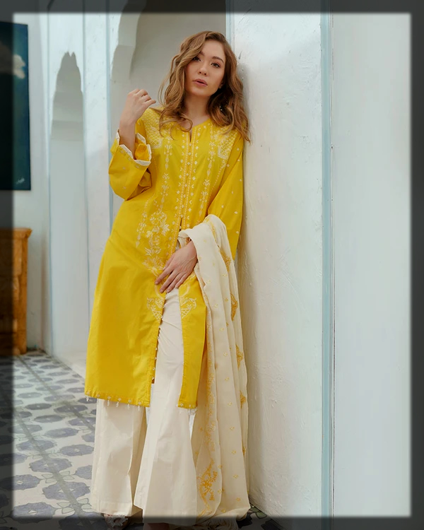 yellow blend summer lawn suit