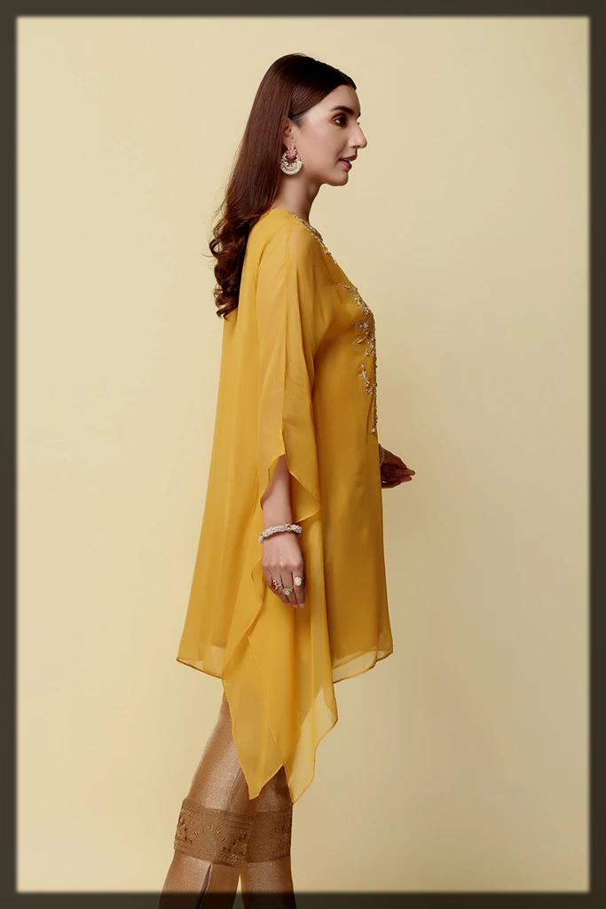 yellow chiffon shirt by chinyere