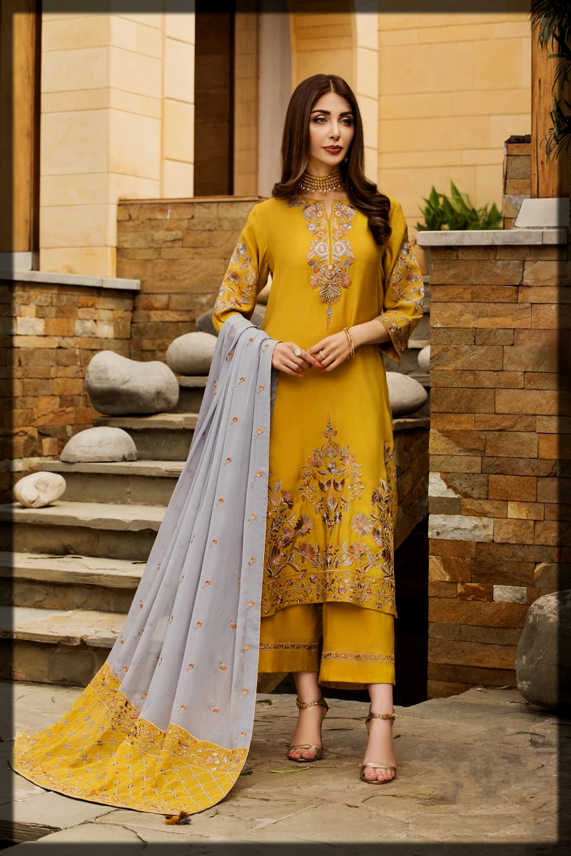 yellow summer eid dress by nishat