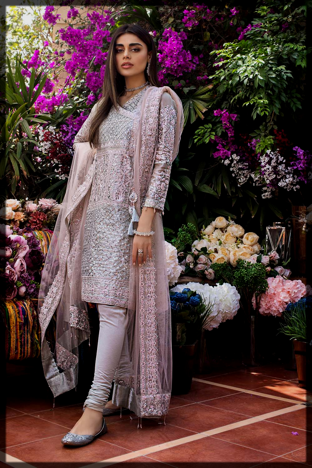 3PC Unstitched Embroidered Suit With Embroidered Net Dupatta