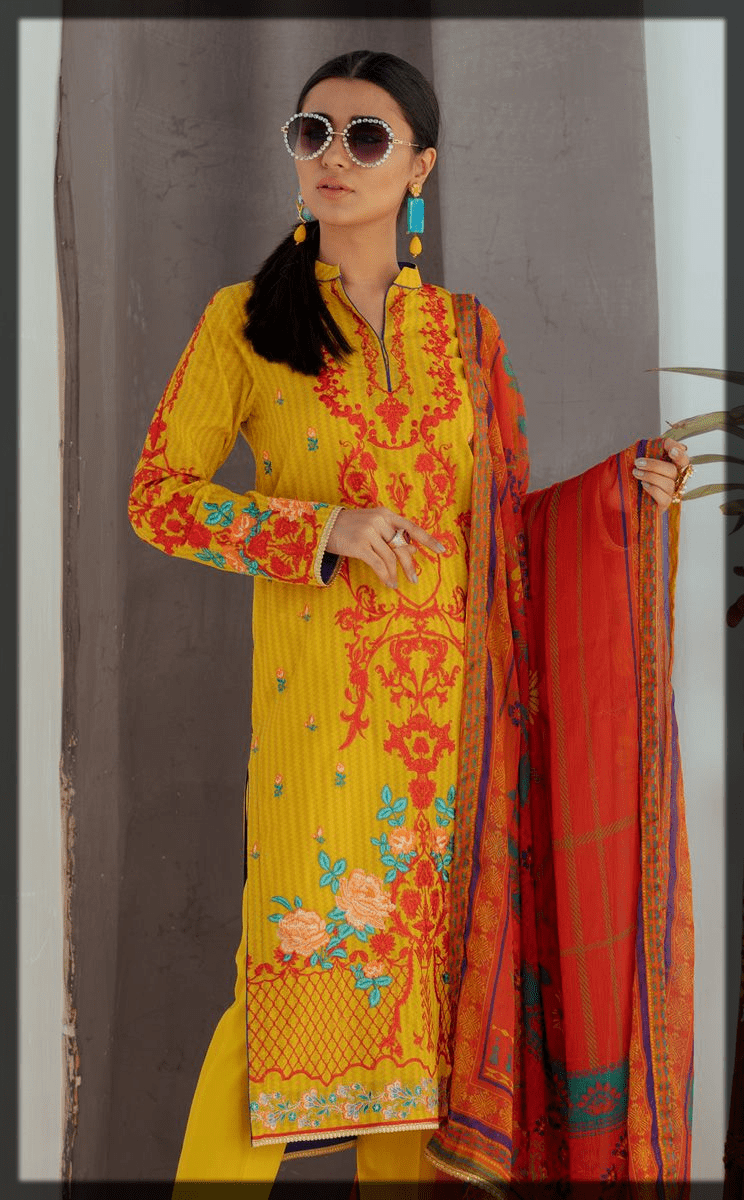 Royale Yellow Embroidered Lawn Suit