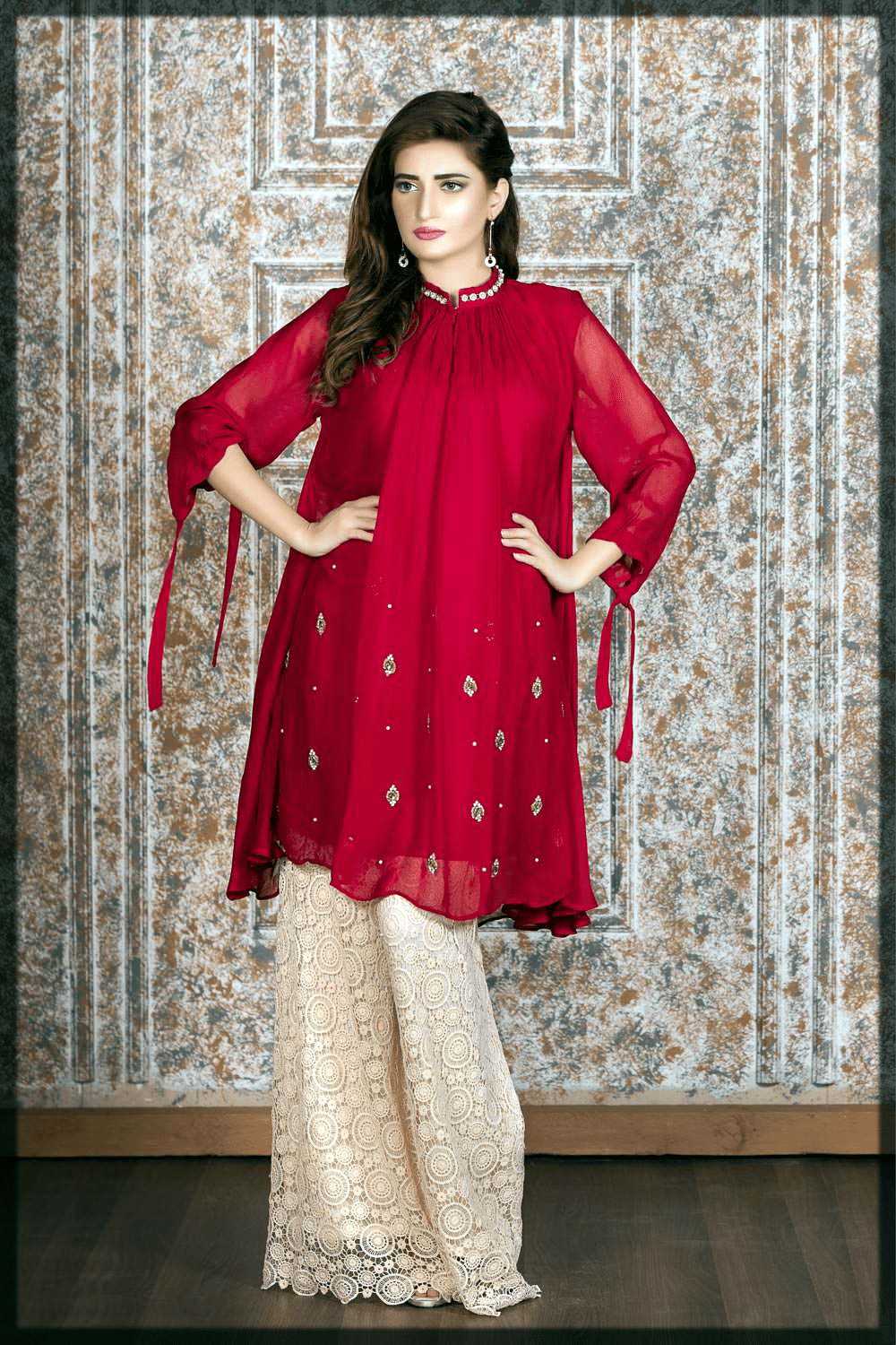 attractive red pakistani party dresses