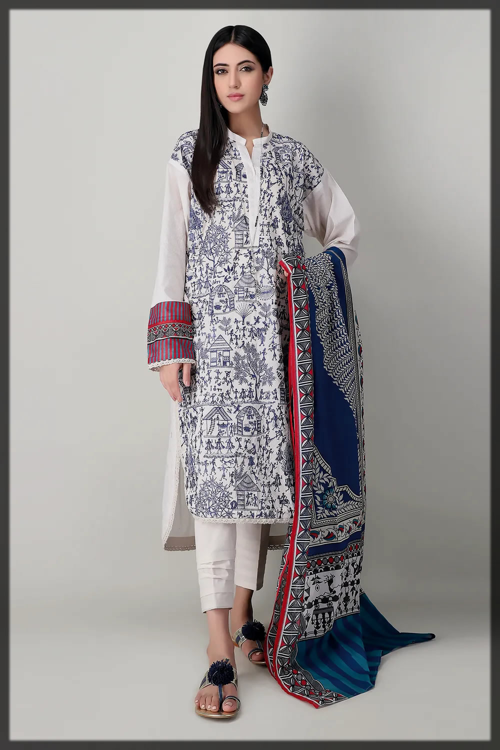 blue and white eid suit