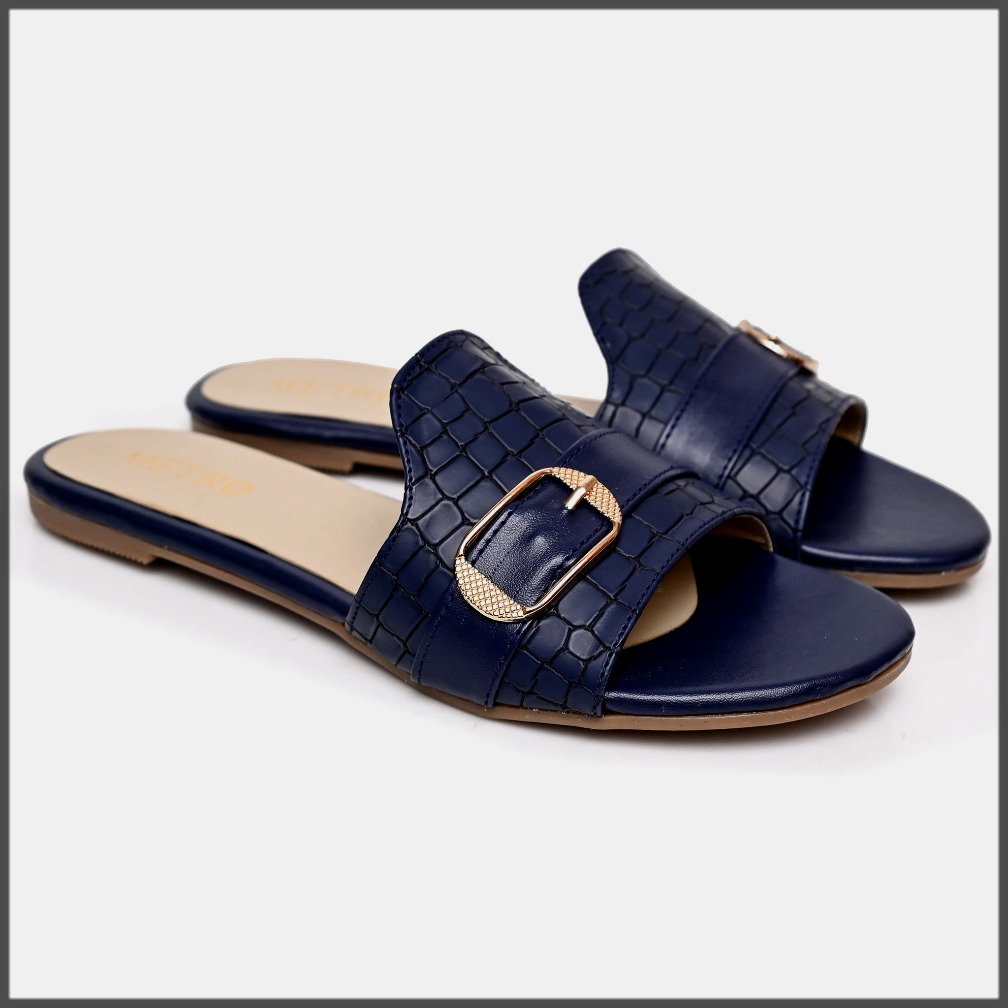 blue formal shoes by metro