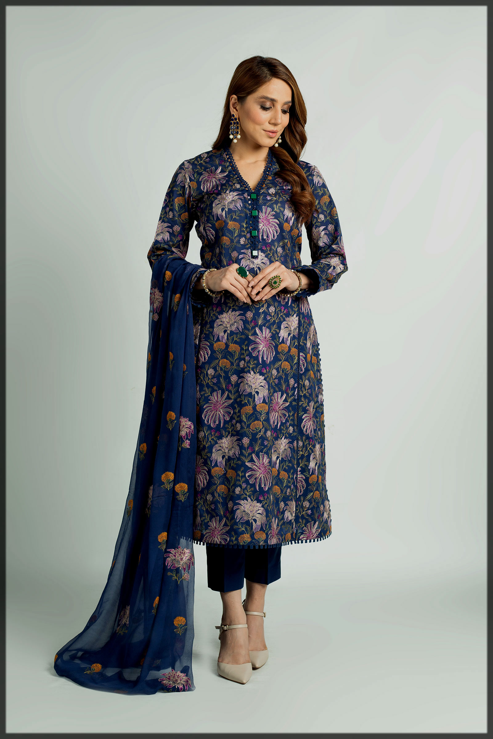 blue shaded eid summer suit