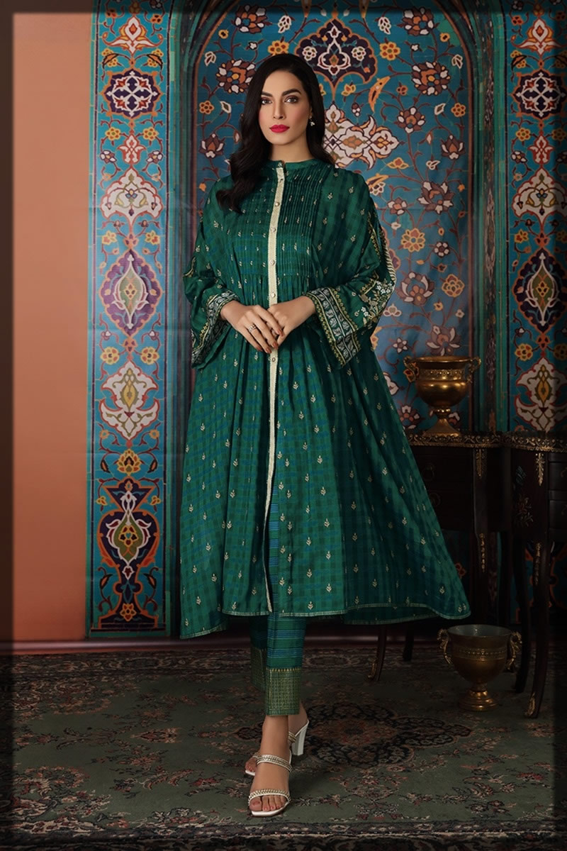 bottle green printed lawn suit