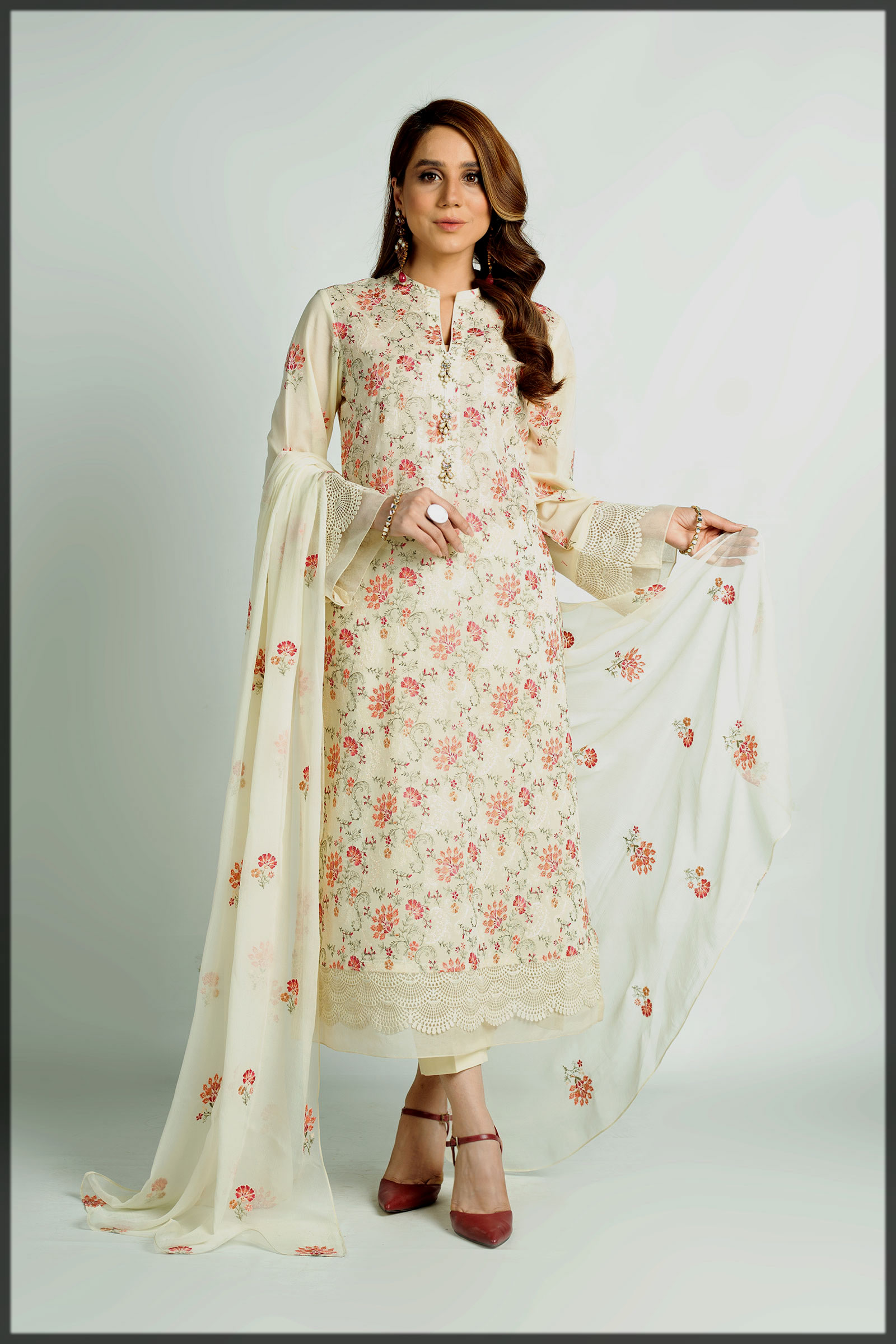 classy embroidered summer lawn suit