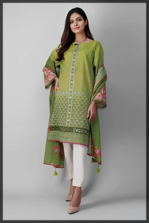 classy green shaded eid attire