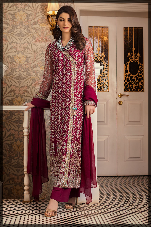 classy maroon eid dress by gul ahmed