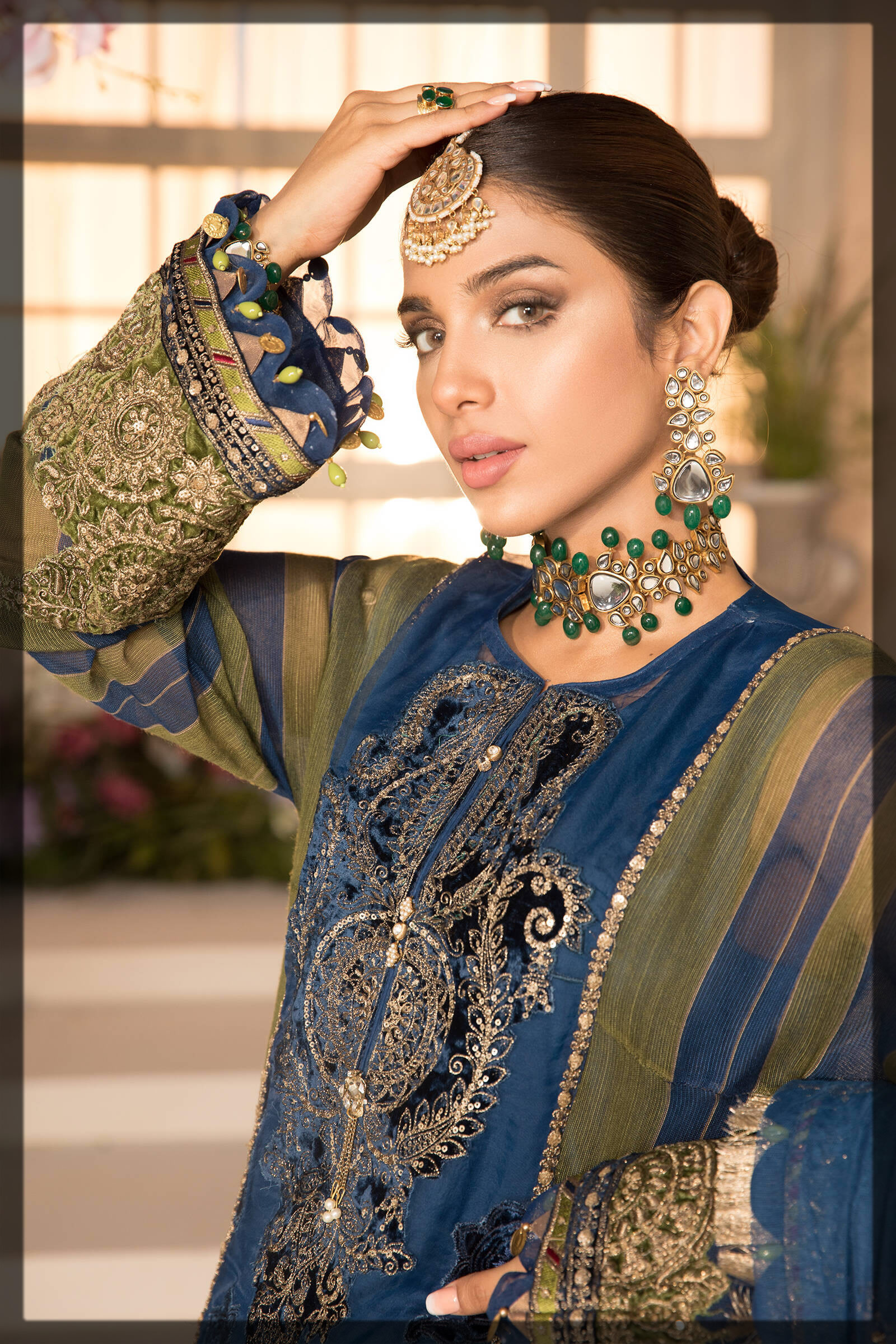 contrasting blue and olive green eid dress