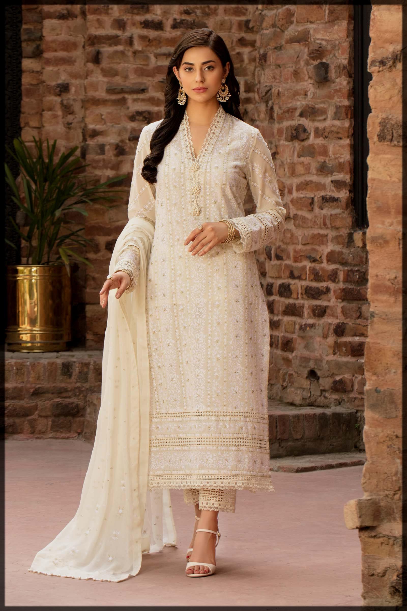 cream hues eid dress