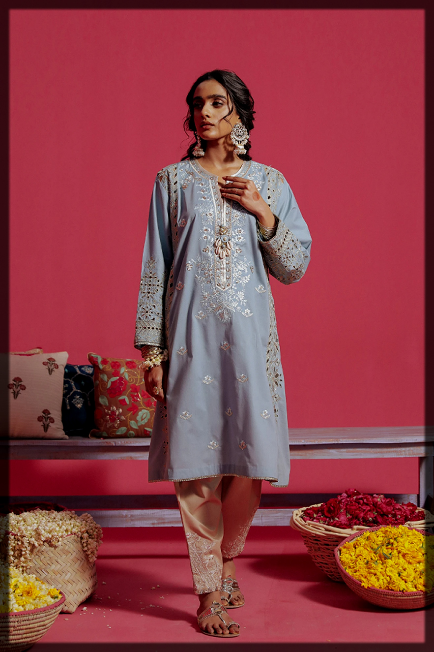 dazzling sky blue ethnic by outfitters summer eid dress