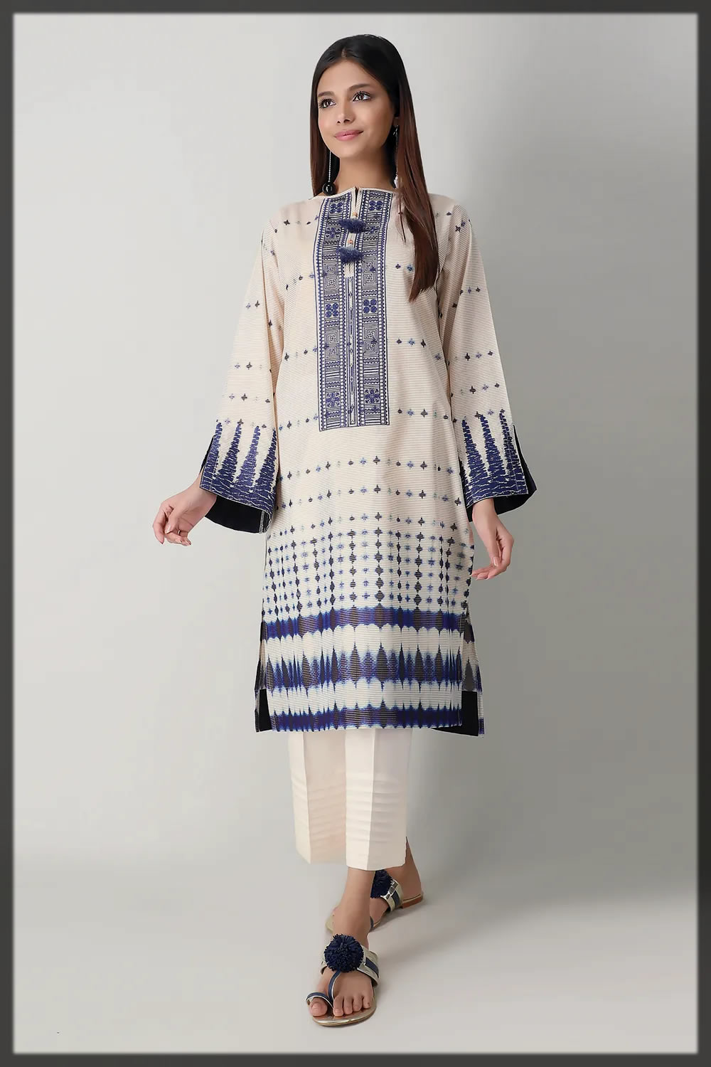 dazzling white summer lawn suit by khaadi