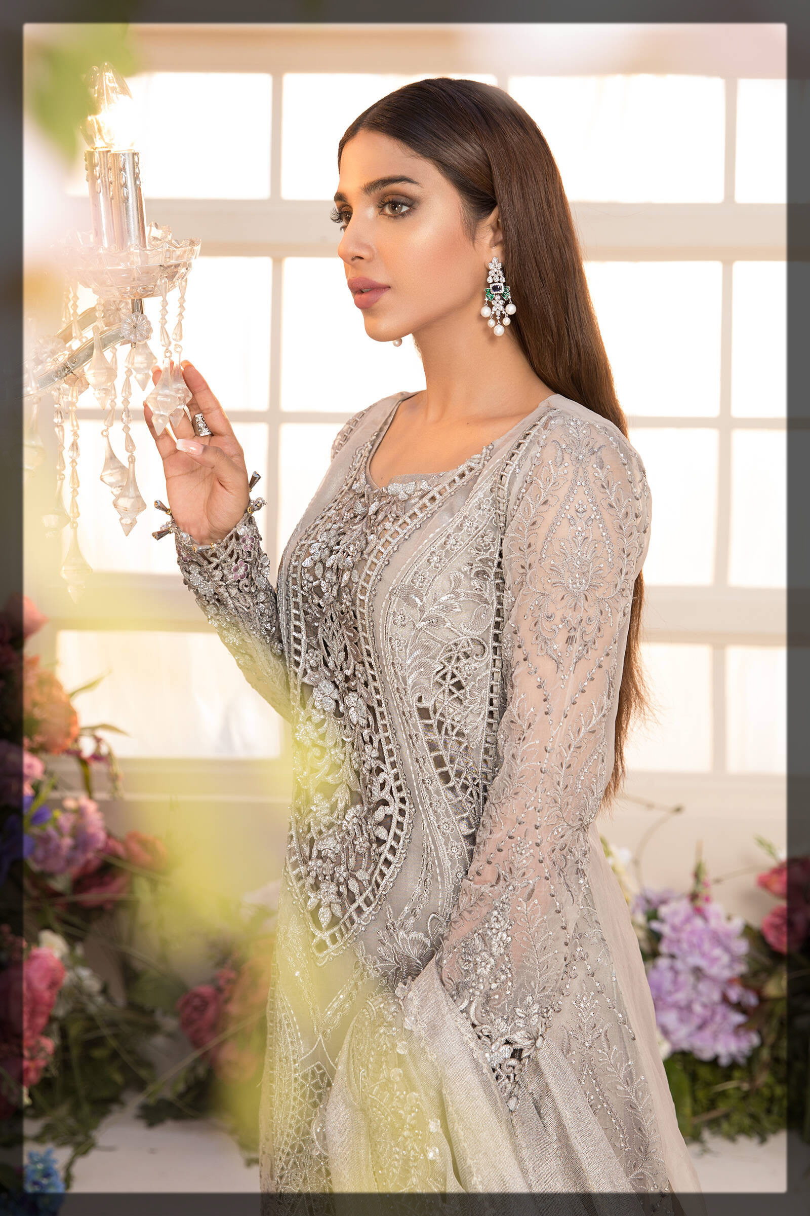 dramatic ash grey eid dress