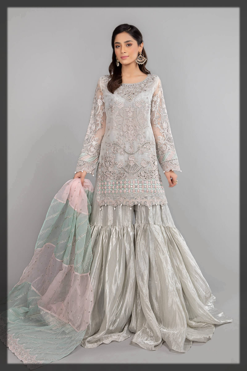 embellished grey gharar dress