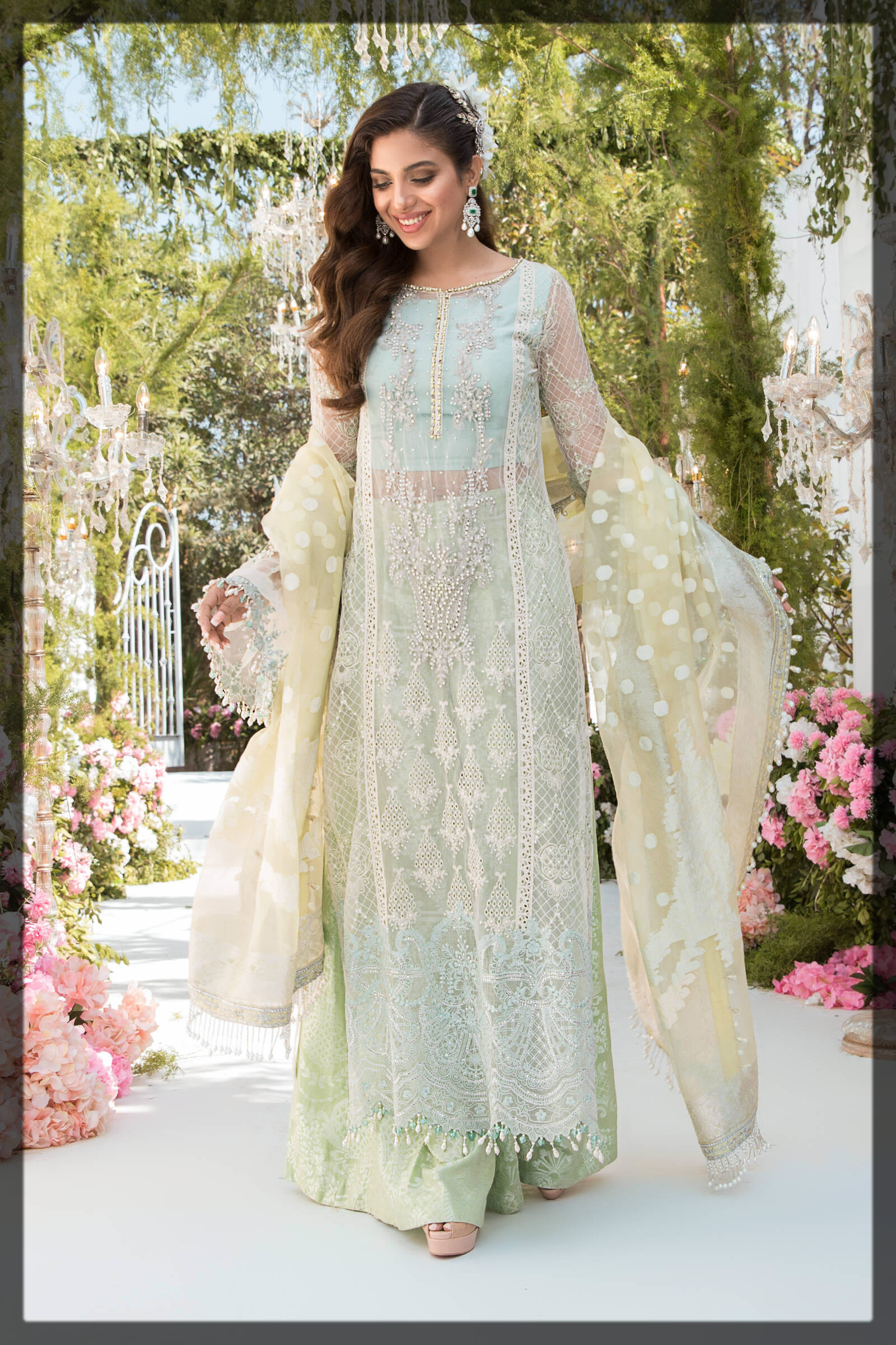 embroidered mint and sky blue eid outfit