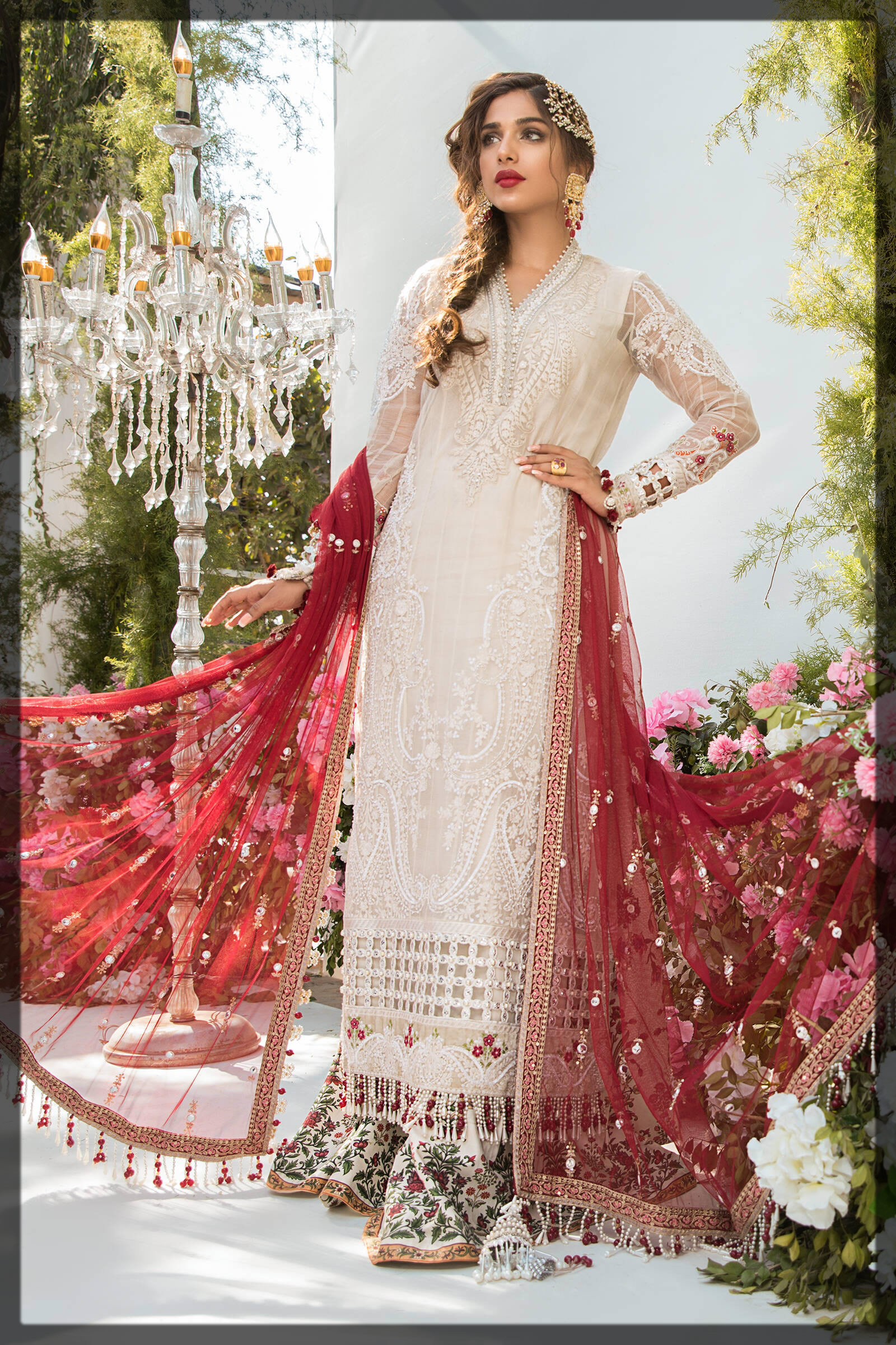 embroidered red and white eid dress