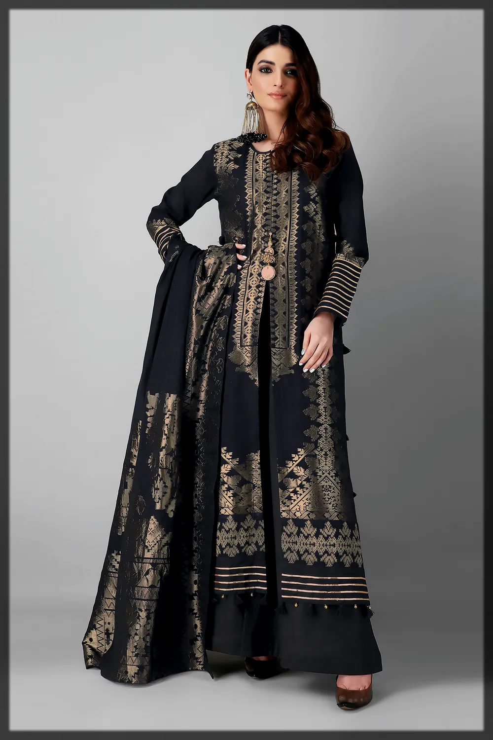 fromal black suit for Eid