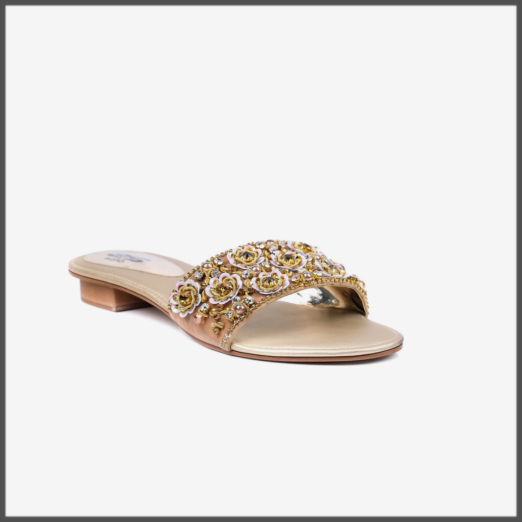 golden fancy footwear for eid